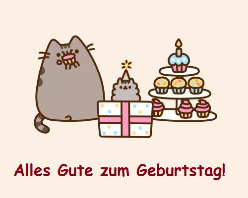 Alles Gute zum Geburtstag! Katze, Kuchen, Kerzen, ein Geschenk