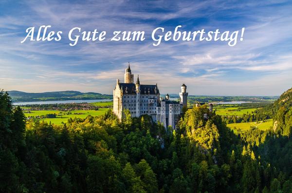 Alles Gute zum Geburtstag! Deutschland, Bayern, Schloss