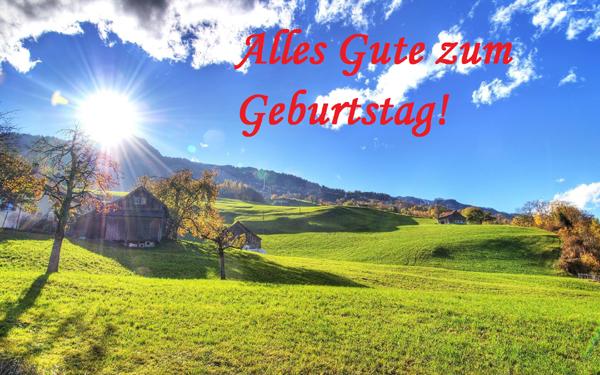 Alles Gute zum Geburtstag! Natur, Sonne, Morgendämmerung, Berge, Landschaft